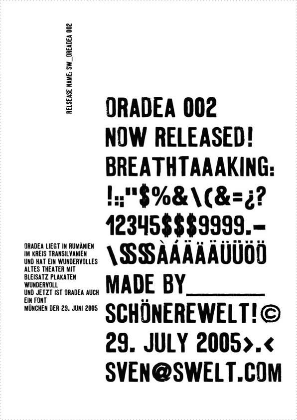 sW oradea 002 - a font by schönereWelt! swelt.com