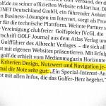 Das Magazin HORIZONT gibt schönereWelt! nur Bestnoten für golf.de