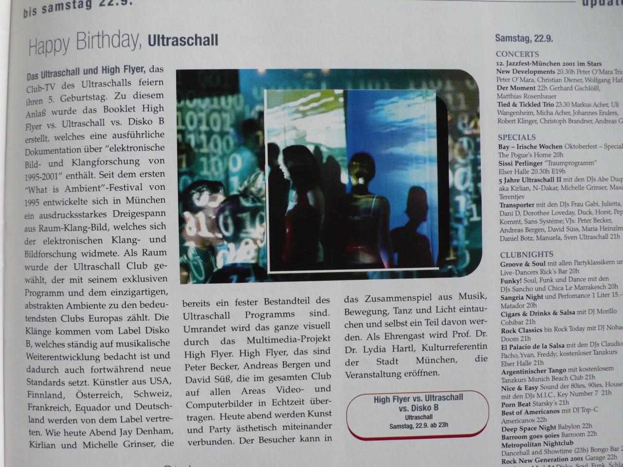 ultraschall, disko b, highflyer 5-jahre-jubiläums-booklet von sven und manu -presse-