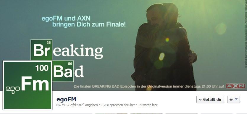 Croped Facebook Page von egoFM mit dem BreakingBad AXN Special gestaltet von schönereWelt!