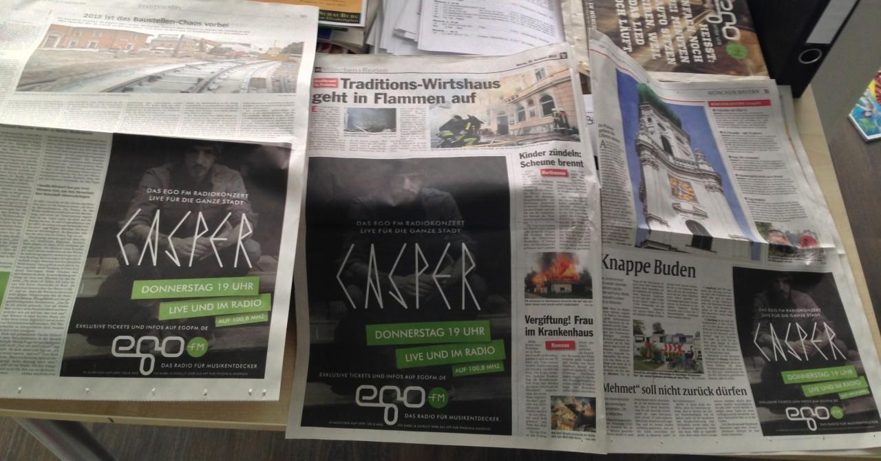 Anzeigenkampagne in den Münchner Tageszeitungen (AZ, TZ und Süddeutsche) von egoFM für das Casper Live Konzert