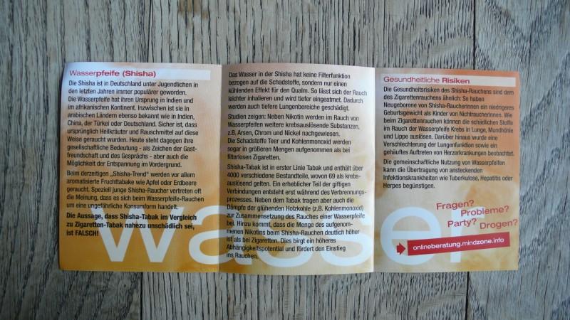 Booklet der Mindzone Kampagne - WASSERlungenPFEIFEN sauber drauf Flyer offen 1