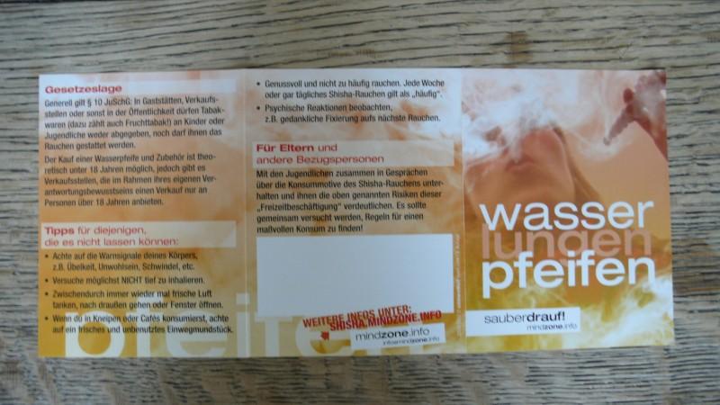 Booklet der Mindzone Kampagne - WASSERlungenPFEIFEN sauber drauf Flyer offen 2