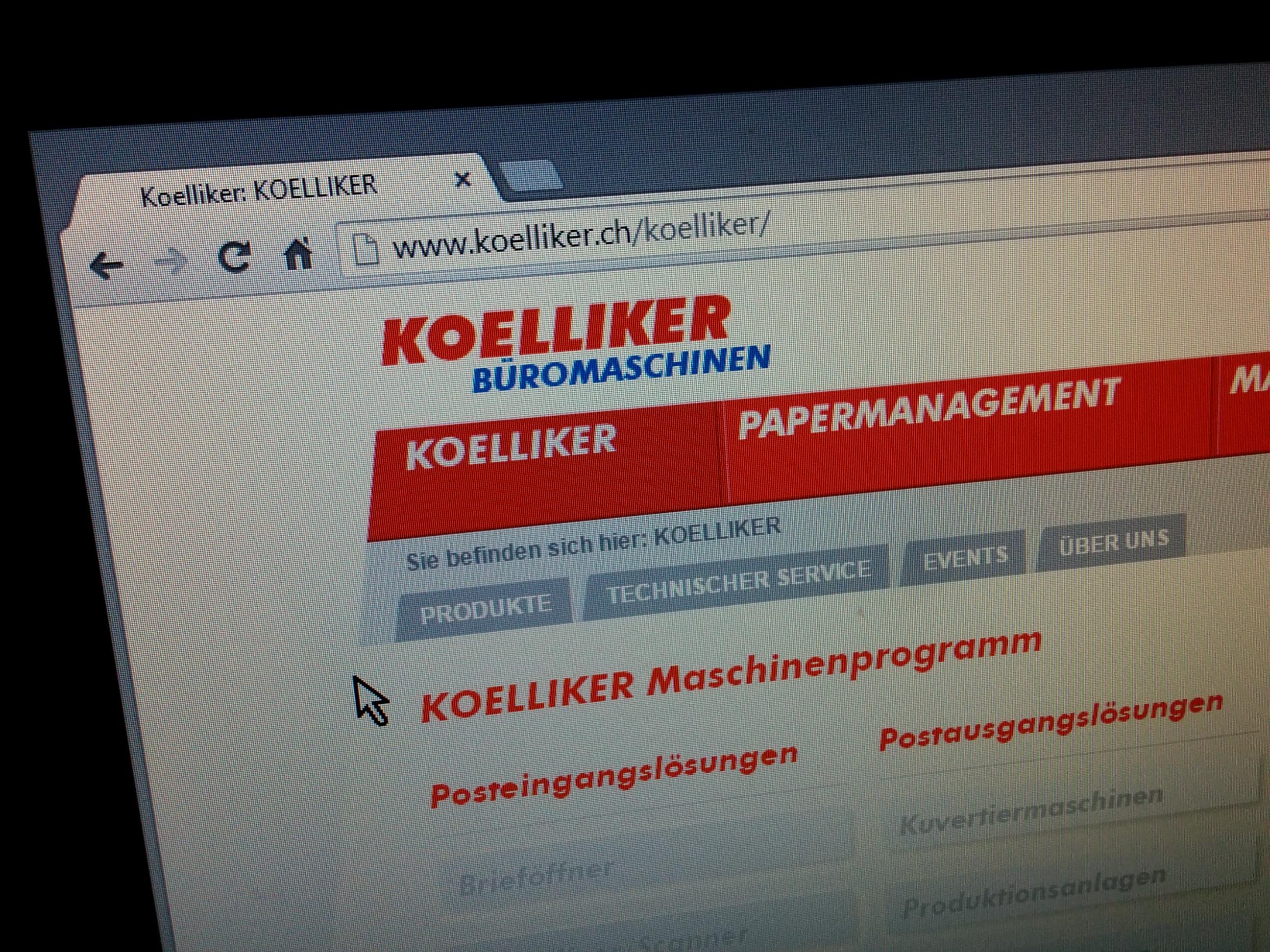 Website Design für die Koelliker AG in der Schweiz