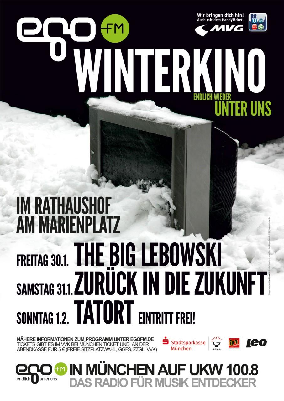 Das Poster zum egoFM Winterkino 2015 ein alter Fernseher im Schnee...