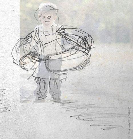 Kind-3-stehend-im-im-Kita-Corona-Distanz-Ring mit Schwimmnudeln und solchen Sachen drum herum und am kreis